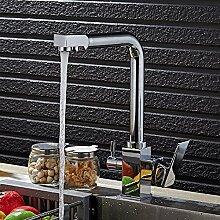 Tanap Schwarz Küchenarmatur Wasserfilter Kupfer Reines Wasser Maschine Waschbecken Tap Vintage Wash Gemüse Und Trinken Gerade Heiß Und Kalt Dreibettzimmer Messing Spray Mischbatterie (Color : Chrome)