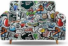 Tanboank Sofabezug 2 Sitzer Sofa Graues Graffiti