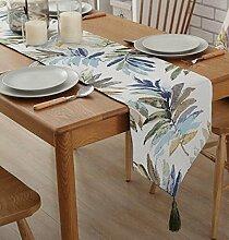 Tang Moine Amerikaner Modern Minimalistisch Blumenmuster Tischläufer Mit Quaste Für Dresser,Blue-32*160cm