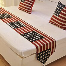 Tang Moine Amerikanische Flagge Im Mediterranen Stil Hoteldekoration Tischläufer Bettende Handtücher Bett Fahnen Tischfahnen Hängen Streifen Tischdecken,33*145cm