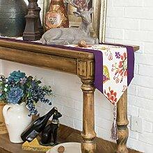 Tang Moine Baumwolle Doppel Lila Blumen Tischläufer Tischfahnen Flaggen Schrank,A-30*200cm