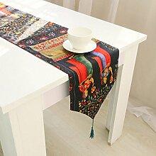 Tang Moine Baumwolle Und Leinen Tischläufer Gartentisch Fahnen Tischfahnen Bett Ende Handtücher Bett Flagge,32*220cm