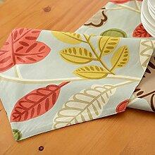 Tang Moine Blumen Streifen Sauber Tischfahnen Flagge Bett Tischläufer,A-30*160cm