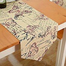 Tang Moine Blumen Streifen Sauber Tischfahnen Flagge Bett Tischläufer,C-30*160cm