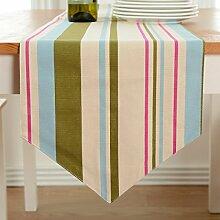Tang Moine Blumen Streifen Sauber Tischfahnen Flagge Bett Tischläufer,B-30*180cm