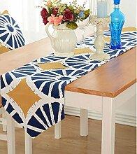 Tang Moine Blumen Streifen Sauber Tischfahnen Flagge Bett Tischläufer,D-30*160cm