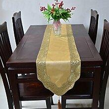 Tang Moine Brokattischläufer Boutique Erwähnung Spitze Tischläufer Bettende Handtücher Tisch Fahnen Tischfahnen,E