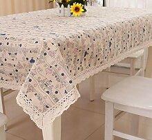 Tang Moine Dekorativ Frisch Elegant Baumwolle Quadratischer Tisch Tischdecke,C-100*150cm
