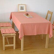 Tang Moine Einfach Ebene Gewaschene Baumwolle Tischdecke Tischdecke Tuch Bedeckt Schreibtisch,Red-90*90cm