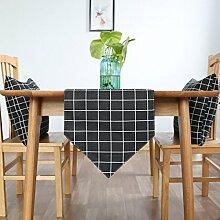 Tang Moine Einfach Geometrisch Gitter Haus Schränke Flagge Fahne Bett Tischläufer,Black-30*180CM