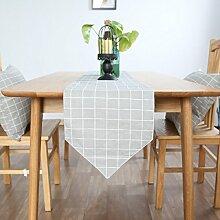 Tang Moine Einfach Geometrisch Gitter Haus Schränke Flagge Fahne Bett Tischläufer,Grey-30*180CM