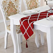 Tang Moine Einfach Modern Streift Heller Draht Luxuriös Tisch Bett Flagge Tischläufer,Red-28*210CM