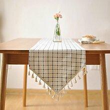Tang Moine Einfache Solide Farben Blau Und Weiße Quadrate Baumwolle Frisches Bett Flagge Fahne Schrank Tischläufer,30*140cm