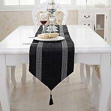 Tang Moine Europäischen Luxus Streifen Reihenbohrmaschine Tischläufer Bett Flagge Fahne Schränke Handtuch Nachläufer,F