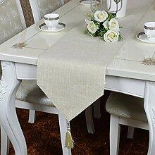 Tang Moine Europäischen Luxus-Tischläufer Tischdecken Gestickt Western Couchtisch Flagge Tischmatten Bett Flagge,White
