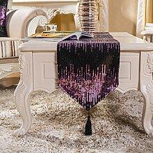 Tang Moine European Mode Luxus Couchtisch Fahnen Tischfahnen Kontert Flagge Fahne Bett Couchtisch Fahnen,Purple-32*180cm