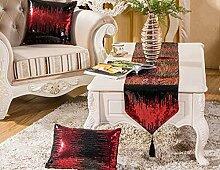 Tang Moine European Mode Luxus Couchtisch Fahnen Tischfahnen Kontert Flagge Fahne Bett Couchtisch Fahnen,Red-32*200cm