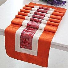 Tang Moine Exquisites Bett Flagge Boxer Gehobene Tischläufer Tischwäsche Bambusgras Drei-Meile Dicke Muster,Orange