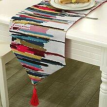 Tang Moine Farbe Tischläufer Art Und Weise Hochwertige Couchtisch Fahnen Tischdecken Bett Flagge,Red-30*220