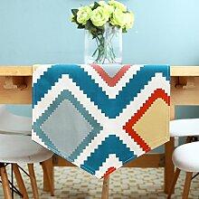 Tang Moine Geometrische Form Einfach Farbe Stoff Couchtisch TV-Schrank Fahnen Flagge Bett Tischläufer,B-35*180cm