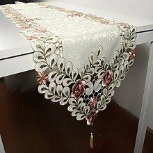 Tang Moine Hohlen Läufer Satin Tisch Bett Bett Flagge Ende Handtücher High-End-Luxus Im Europäischen Stil Tuch Tischdecken Tischläufer Bestickten Tisch,40*220