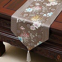 Tang Moine Im Chinesischen Stil Stilvoll Einfach Damast Tischdecken Bett Flagge Tischläufer,A-33*230cm