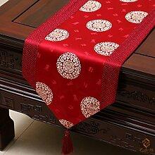 Tang Moine Im Chinesischen Stil Stilvoll Einfach Damast Tischdecken Bett Flagge Tischläufer,B-33*300cm