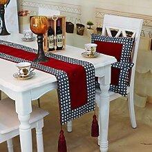 Tang Moine Im Europäischen Stil Luxus Handgenähten Bohrer Tischfahnen Mode Heimtextilien Bett Flagge Fahne Schränke Bett-Ende-Flag,Red