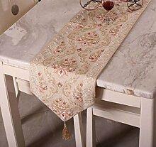 Tang Moine Klassisch Im Europäischen Stil High-End Luxus Tischläufer Bett Flagge,33*180cm