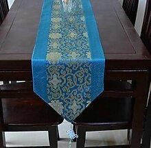 Tang Moine Klassische Europäische Jacquard-Tischlaufschuh Quasten Bett Flagge Schrank Flagge,B-33*176cm
