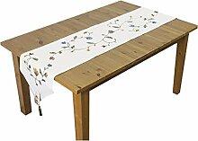Tang Moine Landart Stickerei Baumwolle Einfach Ende Tisch Bett Ende Handtücher Schränke Flagge Tischläufer,White-160x40cm