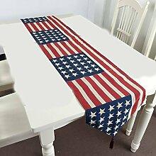 Tang Moine Mittelmeer Wind Die Amerikanische Flagge Baumwolle Tischsets Tischläufer Tischdecken Bett Flagge Es Tischdecke,33x210cm