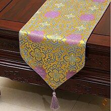 Tang Moine Mode Festlich Einfach Pastoral Brokat Tischdecken Bett Flagge Fahne Schränke Tischläufer,E-33*150cm