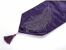 Tang Moine Modern Einfach Im Europäischen Stil Heiße Bohren Federn Seide Tischläufer Tisch Bett Flagge,Purple-32*200cm