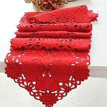 Tang Moine Moderne Blumenmuster Quasten Mit Quasten Garderobe Tischläufer,Red-37*180cm