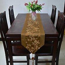 Tang Moine Moderne Blumenmuster Quasten Mit Quasten Garderobe Tischläufer,Brown-33*246cm