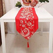 Tang Moine Moderne Blumenmuster Quasten Mit Quasten Garderobe Tischläufer,Red-33*246cm