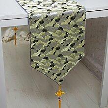 Tang Moine Moderne Blumenmuster Quasten Mit Quasten Garderobe Tischläufer,A-33*250cm
