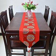 Tang Moine Moderne Blumenmuster Quasten Mit Quasten Garderobe Tischläufer,A-33*150cm