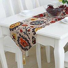 Tang Moine Moderne Boho Blumenmuster Tischläufer Mit Quaste Für Dresser,30*200cm