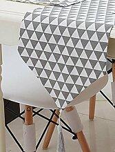 Tang Moine Moderne Geometrische Dreieck-Muster Tischläufer - Cotton Canvas Stoff Tisch-Dekoration Wohnkultur,Grey-160x28cm