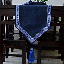 Tang Moine Moderne High-End Luxus Tischläufer Bettende Handtücher Bett Flagge,Blue-33*280cm