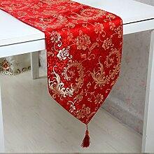 Tang Moine Moderne Rote Blumenmuster Quasten Mit Quasten Garderobe Tischläufer,33*230cm
