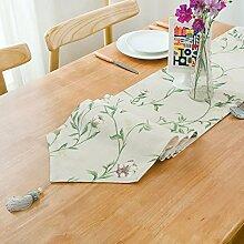 Tang Moine Pastoral Einfach Doppelt Mit Fransen Couchtisch TV-Schrank Abdeckung Tuch Tischläufer,Beige-30*220cm