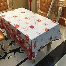Tang Moine Romantisch Vitalität Begonia Blumen Wasserdicht Staubdicht Haus Hotel PVC Tischdecke Tischtuch Buch,137cm*137cm