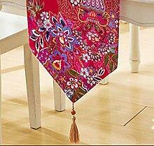 Tang Moine Rote Blume Tischläufer,30*190cm