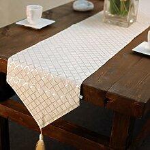 Tang Moine Stilvolle Einfachheit Tischdecken Tischläufer Tischläufer Pailletten Diamantgitter TV Gehäuseabdeckung Handtücher Bett Flagge Bettende Handtuch,Champagne
