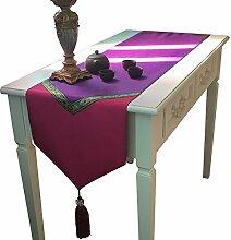 Tang Moine Südostasien Lila Baumwolle Leinen Tischläufer Flagge Bett Tischdecke Tuch Schuh,33*160cm