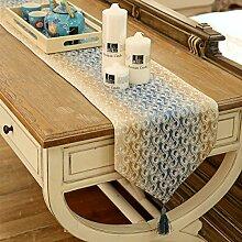Tang Moine Tischdecke Läufer Tisch Farbverlauf Hochwertiges Tischtuch Lebensmittel Tischdecken Handtücher Luxuriöser Couchtisch,33*200