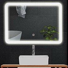 Tangkula LED-Badezimmerspiegel, abgerundete Ecke,